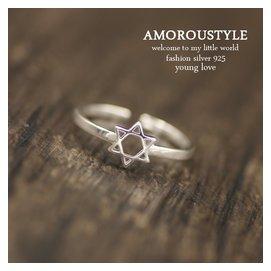 日韓潮人復古個 六芒星配飾品s925純銀開口關節戒指食指環女