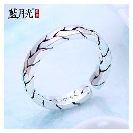s925純銀飾品老銀匠 編織開口純銀戒指男士尾戒復古泰銀指環女