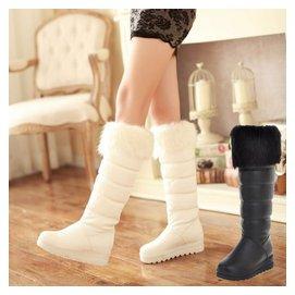 厚底白色春秋鼕季中靴加厚鼕靴平底及膝高筒靴中長靴雪地靴女靴子