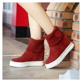 15秋鼕款中靴平跟平底圓頭中筒靴子女馬丁靴磨砂皮內增高女靴子潮