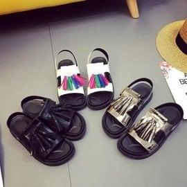 涼鞋子女夏平底學生流蘇女鞋厚底松糕鞋兩穿上線女鞋