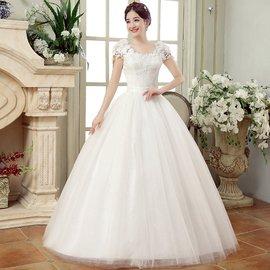 2016春 新娘結婚紗禮服修身顯瘦雙肩齊地 蕾絲花朵一字肩女