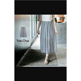 東京衣 幾何印花雪紡長裙