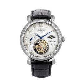 曼莉莱克 Manlike 陀飞轮机械表不锈钢真皮表带机械表晶钻尊荣典藏手表八心八箭银