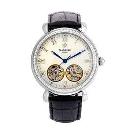 曼莉莱克 Manlike 双摆轮机械表不锈钢真皮表带机械表晶钻卓然手表八心八箭银