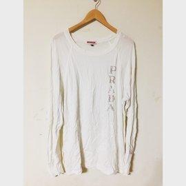 國際 專櫃大品牌 Prada 普拉達 大logo 白色長袖上衣 棉質T恤 男裝 XXL