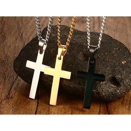 ~316小舖~~F413~  精鋼項鍊~多款十字架鋼項鍊 ~單件價 鋼十字架項鍊 純黑十字