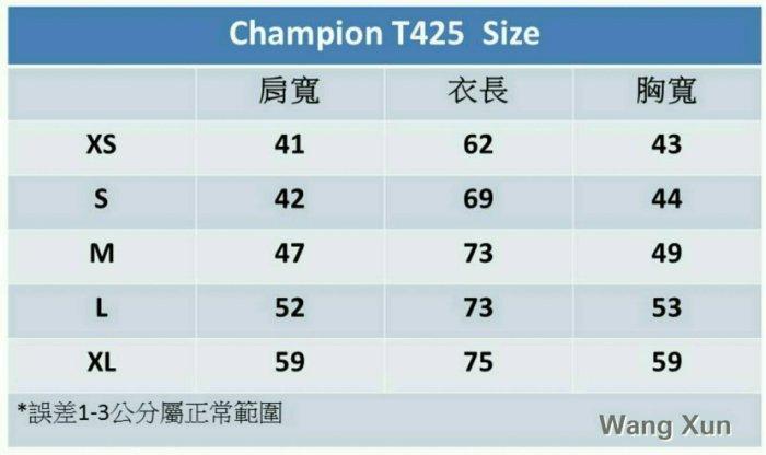 Champion T425 6.1oz 美版袖口小標素T05