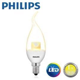 PHILIPS 飛利浦 E14 蠟燭燈泡 4.5W LED 拉尾蠟燭 水晶燈泡 黃光 全電