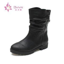 2015秋鼕麗人達芙妮 平底真皮短靴低跟粗跟馬丁靴單靴女靴
