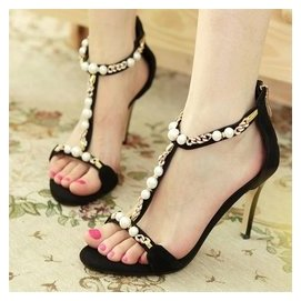 夏天中跟細跟黑色涼鞋女夏 公主學生 性感顯瘦露趾高跟鞋8