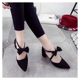 高跟粗跟單鞋女尖頭坡跟中跟低跟涼鞋 包頭側空一字16
