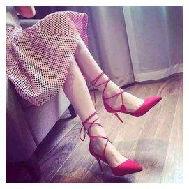 2016春秋 鞋尖頭高跟鞋細跟紅色淺口涼鞋綁帶中空性感女單鞋子