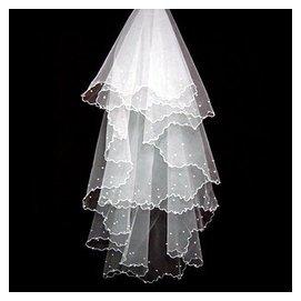 ~千色新娘~特1 白色1.5米3米小珍珠頭紗 拖尾結婚頭紗婚紗禮服配飾