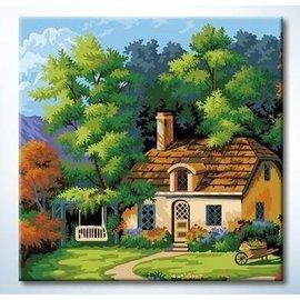蒂爾傢居 館~DIY數字油畫 壁畫~裝飾無框畫 藝術畫 ~25x25小木屋 大 ~249~