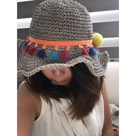 繽紛毛球編織草帽可調帽簷