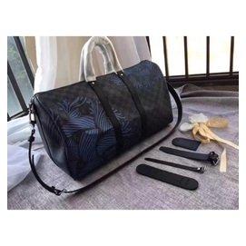 LV包包(旅行袋 旅行包包N41418 標誌性Damier Graphite 格紋帆布 亮眼的配色 的Rope花紋)