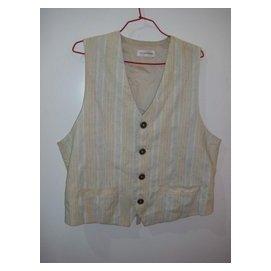 潮流帥衣 衣 韓風米色棉質多色直紋針織4扣 開襟西裝背心 衣長60公分胸圍32~40吋腰圍