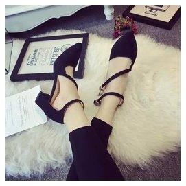 2015夏 尖頭 粗跟涼鞋女中跟黑色高跟鞋 一字扣女鞋