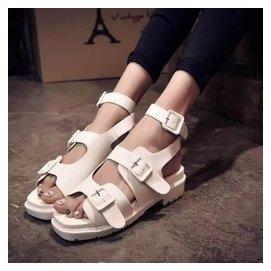 涼靴女2015春夏 真皮方頭皮帶扣平底女士涼鞋中跟厚底女鞋