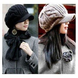 ~鋼仔~~  女士針織璀璨羊毛 有帽檐麻花鴨舌帽