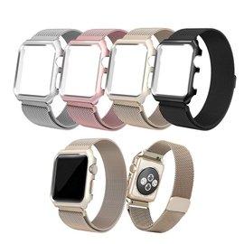 苹果Apple watch1/2智能手表表带不锈钢表框+米兰尼斯磁吸表带 智慧穿戴  3C周边  替换表带