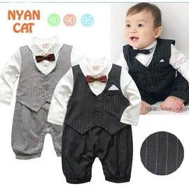 親親我的愛嬰兒可愛領結西裝長袖連身衣西裝禮服紳士套裝 ~A0120~