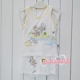 寶寶夏裝嬰樂島男童女童薄款背心嬰兒無袖T恤短褲套裝6950