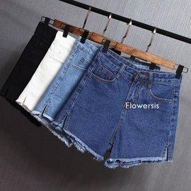 大碼~3XL 側開叉高腰闊腿牛仔短褲  學生 毛邊 顯瘦 寬鬆 熱褲 100元