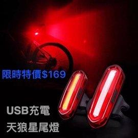 ~瑞斯拜客~  天狼星 爆閃尾燈 USB充電 大電量 防水 防雨 稀有 紅藍紫色燈 自行車