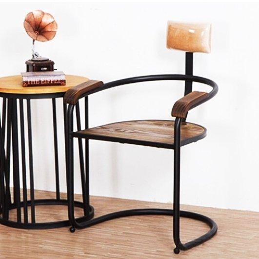 歐美LOFT工業風復古靠背式胡桃木色餐廳椅子 黑色鍛鐵製簡約實木休閒坐椅 做舊北歐鄉村鐵腳木製電腦書椅 扶手木椅 酒吧椅02