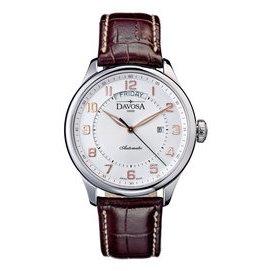 DAVOSA Pares Day Date 機械腕錶-白x玫瑰金時標/44mm