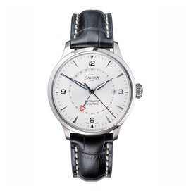 DAVOSA Vigo GMT 雙時區時尚腕錶-銀白/44mm