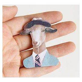 日韓 山羊先生上班族別針薄荷綠 文藝復古西裝大衣外套別針 布藝胸針古著小配飾品PUNK l