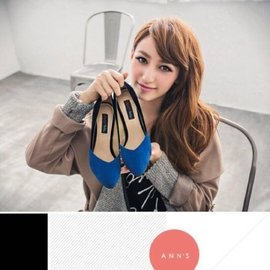 转卖Ann's梦幻灰姑娘,尖头撞色跟鞋