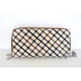 悠格【YOGSBEAR】 B 英倫格紋 雙拉鍊 皮夾 錢包 零錢包 卡包 手拿包 皮包 錢