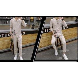 男式棉麻印花套裝長袖T恤亞麻上衣 長褲一套休閒大碼男裝 S500AMMD14
