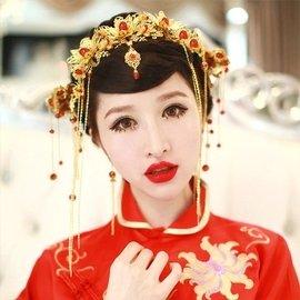 ~ ~新娘古裝頭飾鳳冠秀禾和服旗袍配飾新娘秘書中式紅色飾品結婚禮服新娘 三件式套裝組 紅色