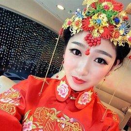 ~ 二件式套裝組~中國結古典盤扣新娘古裝頭飾鳳冠秀禾和服旗袍配飾新娘秘書中式紅色飾品結婚禮