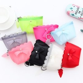可愛果凍矽膠蝴蝶結零錢包 糖果色女士鑰匙包 手拿包
