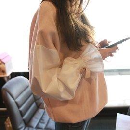#x1f48b 艷 #x1f451 長袖衛衣套頭喇叭袖蝴蝶結綁帶長袖襯衫圓領甜美氣質寬鬆日