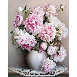 牡丹花40x50無框數字油畫可 取貨需要自己手繪含畫筆3隻,畫布,顏料