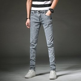 煙灰色男士牛仔褲男式青年彈力修身小腳長褲 Y201