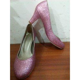 ESTELLA粉紅閃亮高跟鞋~可當婚鞋36號 大