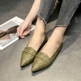 知性編織感尖頭低跟包鞋 OL優雅單品 寬版編織 大氣  尖頭簡約格子淺口平底休閒鞋舒適百搭