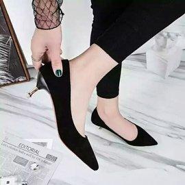 尖頭淺口低跟低跟鞋 #x1f48c 黑色高跟細跟OL 絨面工作女鞋 復古 百搭 喜宴 復古