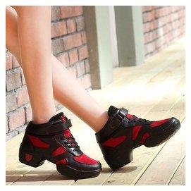 春 女式軟底增高 爵士跳舞鞋高幫網面廣場舞蹈鞋真皮