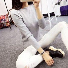 優速快購 東京戀歌 打底衫女小衫 潮緊身修身上衣薄款外穿長袖T恤針織衫