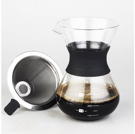 400ml手沖咖啡套組 不銹鋼咖啡濾網 玻璃分享壺 手沖壺 免用咖啡濾紙 咖啡分享壺