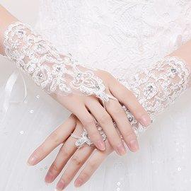 豆豆 屋~ 新娘婚紗手套 兒童禮服蕾絲手套 花邊空鑽無指網紗短款手套 宴會.主持.新秘